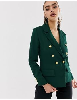 Missguided Core Military Blazer In Green by Missguided