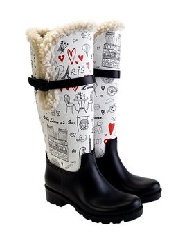 White & Black 'paris' Doodle Rain Boot   Women by Zulily