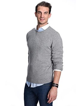 State Cashmere Men's 100 Percents Pure Cashmere Long Sleeve Pullover Crew Neck Sweater by State Cashmere
