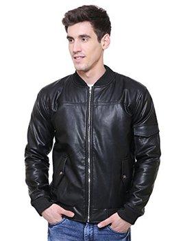 Adwaita Men Black Slimfit Genuine Lambskin Leather Bomber Jacket by Adwaita