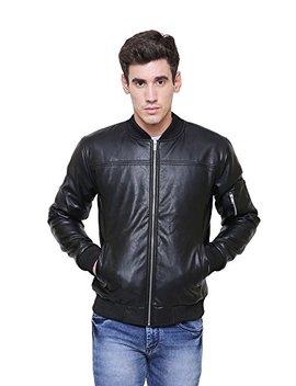 Adwaita Men Black Slimfit Genuine Lambskin Leather Motorcycle Bomber Jacket by Adwaita