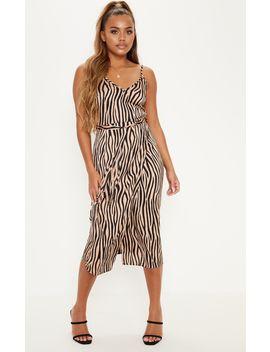 Tan Tiger Print Wrap Slip Dress by Prettylittlething
