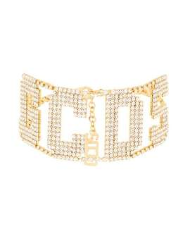 Crystal Embellished Logo Choker by Gcds