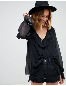 Asos Design Sheer Blouse With Ruffle Detail And Cami by Asos Design