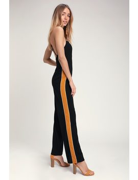Finish Line Black And Yellow Side Stripe Jumpsuit by Lush