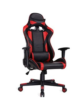 Auag Ergonomic Gaming Chair Racing Style Adjustable High Back Pu Leather Office Chair Computer Desk Chair Executive Ergonomic Style Swivel Video Chair Headrest Lumbar Support (Red) by Au Ag