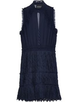 Ruffle Trimmed Silk Georgette And Lace Mini Dress by Nicholas