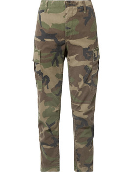 Camouflage Print Canvas Tapered Pants by Re/Done