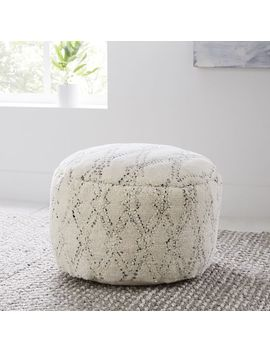 "Hazy Lattice Pouf, 20""X11"", Ivory by West Elm"
