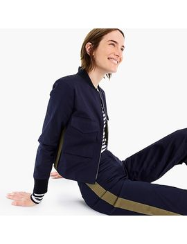Cropped Bomber Jacket With Side Stripes by J.Crew