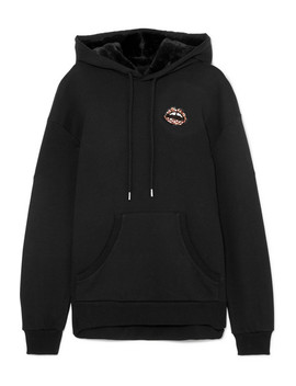 Evie Faux Fur Trimmed Embellished Cotton Jersey Hoodie by Markus Lupfer
