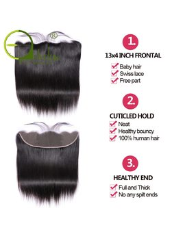 Sterly Straight Hair Bundles With Frontal Non Remy Human Hair Bundles With Closure Brazilian Hair Weave Bundles With Closure by Sterly