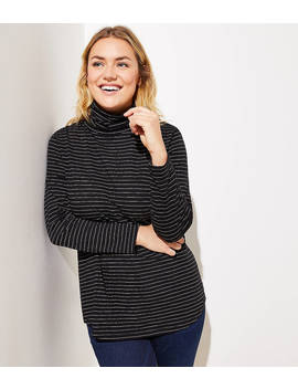 Loft Plus Shimmer Stripe Shirttail Turtleneck by Loft