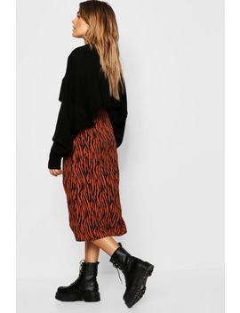Zebra Split Midi Skirt by Boohoo