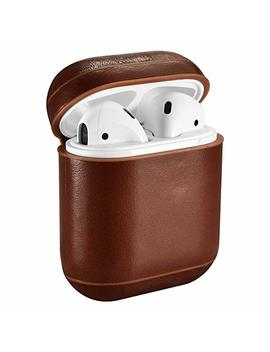 airpods-leather-case,icarer-genuine-leather-protective-shockproof-cover-for-apple-airpods-charging-case-(brown) by icarer
