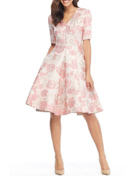 Adair Pink Passion Rose Jacquard Fit & Flare Dress by Gal Meets Glam Collection