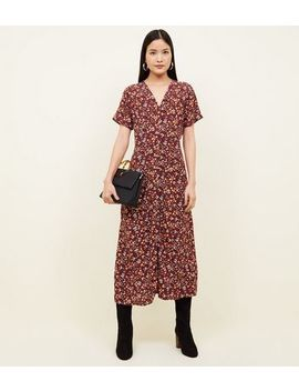 Brown Floral Button Front Midi Dress by New Look