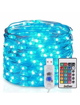 homestarry-usb-plug-fairy-string-remote-33-ft-firefly-twinkle-lights-100-leds-multicolor,-silver-wire,-waterproof-bedroom-party-decoration-wedding,-16-colors-option by homestarry