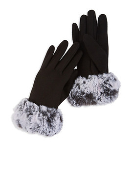 Faux Fur Cuffed Gloves by Rainbow