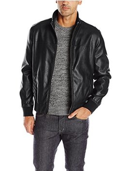 Tommy Hilfiger Men's Smooth Lamb Faux Leather Unfilled Bomber Jacket by Tommy+Hilfiger