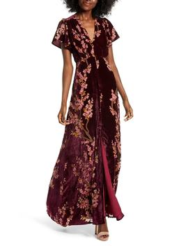 Floral Burnout Velvet Maxi Dress by 4 Si3 Nna