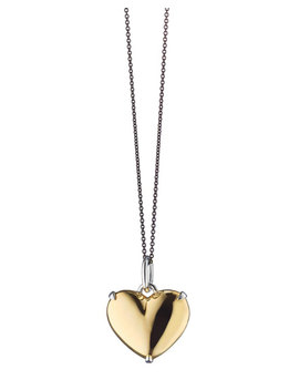Two Tone Heart Of Gold Charm Necklace by Monica Rich Kosann
