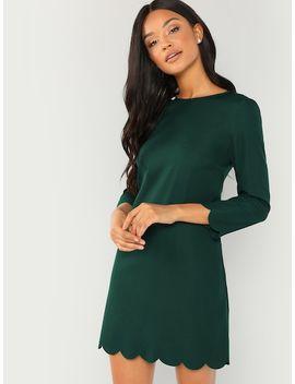 Scallop Trim Tunic Dress by Shein