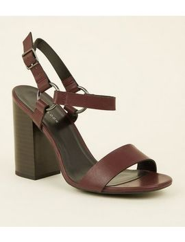 Dark Red Leather Look Ring Strap Block Heels by New Look