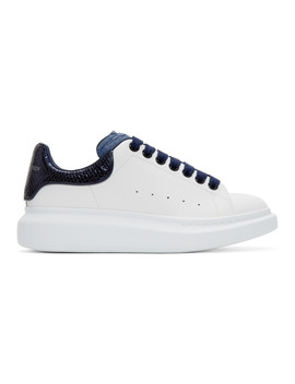 White & Blue Python Oversized Sneakers by Alexander Mcqueen