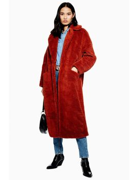 Longline Borg Coat by Topshop