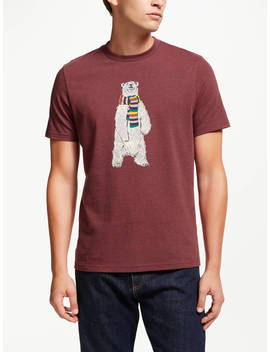 John Lewis & Partners Christmas Polar Bear T Shirt, Wine by John Lewis & Partners