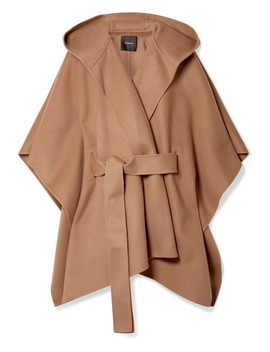 New Divide Belted Hooded Wool And Cashmere Blend Poncho by Theory