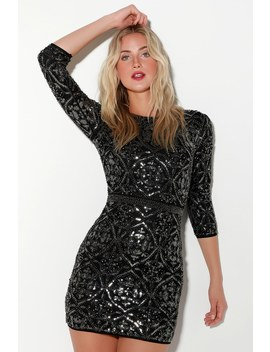 Bright Night Black Beaded Sequin Bodycon Dress by Lulus