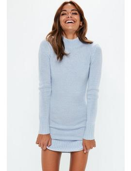 Tall Blue Fluffy High Neck Jumper Dress by Missguided