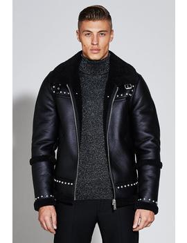 Premium Faux Leather Harrington Jacket by Boohoo