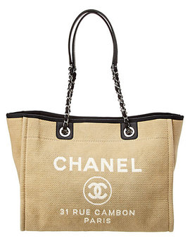 Chanel Beige Canvas Large Deauville Tote by Chanel