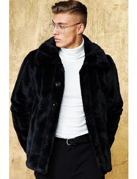 Luxe Pinstripe Faux Fur Coat by Boohoo