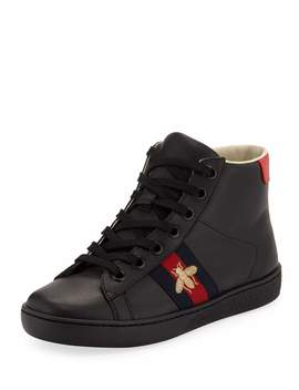New Ace Leather High Top Sneakers, Kids by Gucci