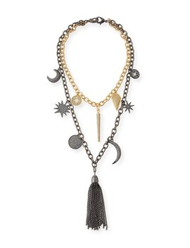 Barbara Chain Tassel Charm Necklace by Hipchik