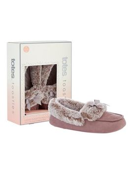 Totes   Mauve Suedette Faux Fur Moccasin Slippers by Totes
