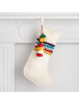 White Sweater Pom Pom Holiday Stocking by World Market