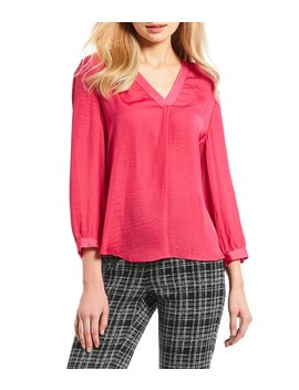 Rumple 3/4 Sleeved V Neck Blouse by Vince Camuto