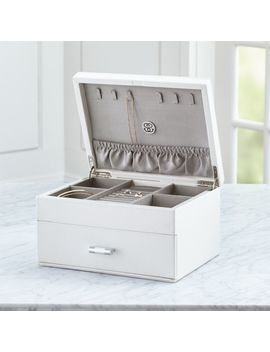 Agency Medium Ivory Jewelry Box by Crate&Barrel