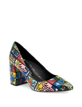Keith Haring X Alice + Olivia Demetra Graphic Print Leather Pumps by Alice + Olivia