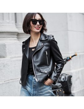 Spring Genuine Leather Jacket Women 2017 Fashion Real Sheepskin Coat Rivet Motorcycle Biker Jacket Female Sheep Leather Coat by Maomao Fur M