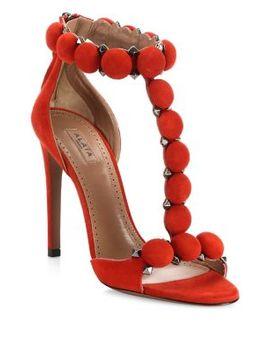 Studded Stiletto Heel Suede Sandals by Alaïa