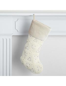 Gray And Ivory Velvet Beaded Geo Holiday Stocking by World Market