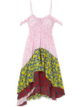 Lilah Cold Shoulder Paneled Crepe De Chine Dress by Preen Line