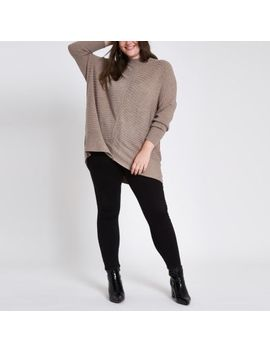 Plus Beige Rib Knit High Neck Jumper by River Island