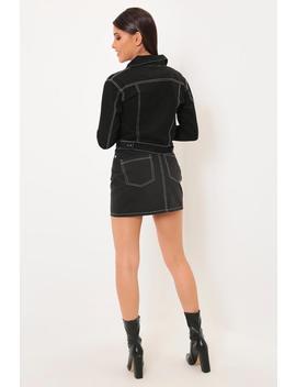 Black Contrast Stitch Denim Jacket by I Saw It First